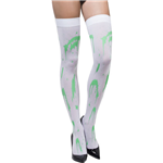 White Green Splatter Stockings