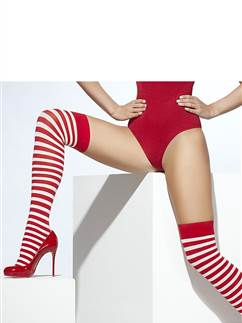Red and White Stripe Stockings - Adult One Size