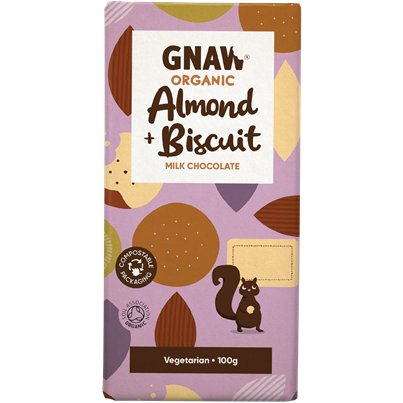 GNAW Organic Almond & Biscuit Chocolate Bar