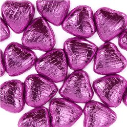 Pink Foil Chocolate Hearts - 20pk