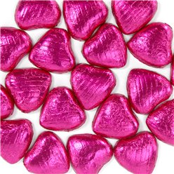 Cerise Foil Chocolate Hearts