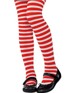 Red & White Striped Tights - Child 6-8yrs