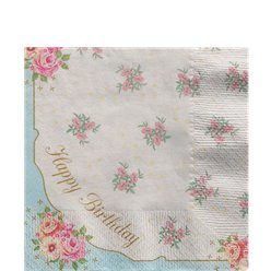 'Happy Birthday' Vintage Tea Party Napkins - 33cm
