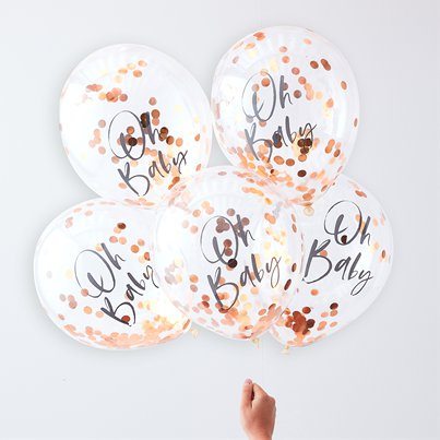 "Twinkle Twinkle Oh Baby Rose Gold Confetti Balloons - 12"" Latex"