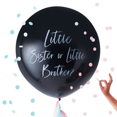 "Twinkle Twinkle Gender Reveal Little Brother Or Sister Balloon - 36"" Latex"