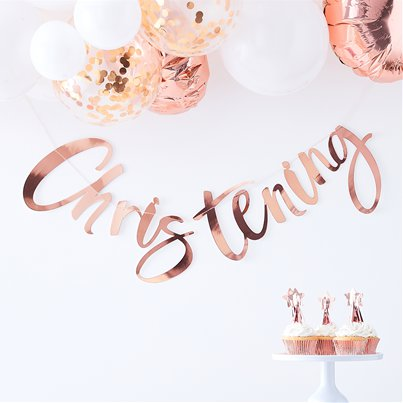 Twinkle Twinkle Christening Rose Gold Banner - 1.5m