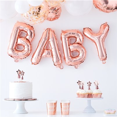 "Twinkle Twinkle Baby Rose Gold Balloon Bunting - 16"" Foil"