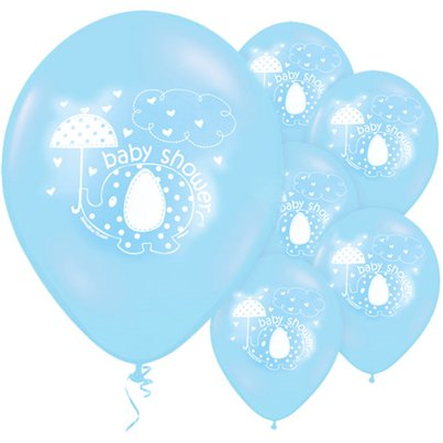 "Umbrellaphants Blue Baby Shower Balloons - 12"" Latex"