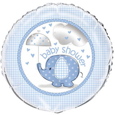 "Umbrellaphants Blue Baby Shower Balloon - 18"" Foil"