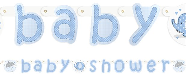 Umbrellaphants Blue Baby Shower Party Letter Banner - 2.2m