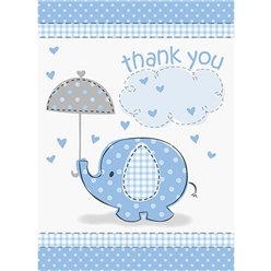Umbrellaphants Blue Party Thank You Cards