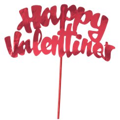 """Happy Valentines Day"" Red Foil Cake Topper"
