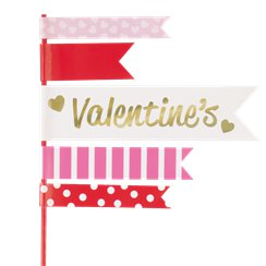 Valentine's Day Pennant Flag Cake Toppers