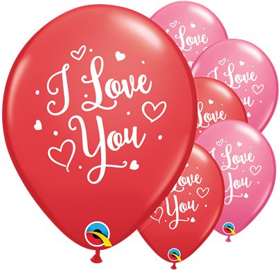 I Love You Hearts Script Latex Balloons - 11""