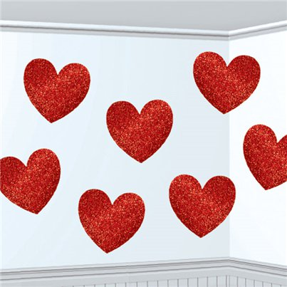 Valentines Glitter Heart Decorations - 29cm