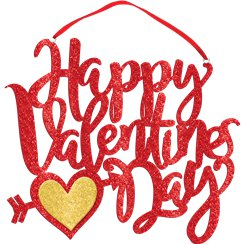 Happy Valentines Day Glitter Hanging Sign