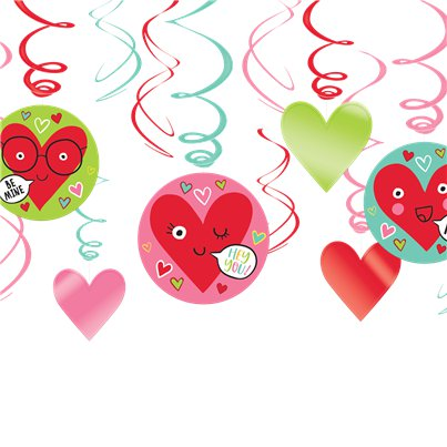 Heart Face Hanging Swirls