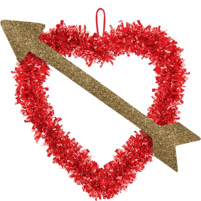 Valentines Heart Tinsel Decoration
