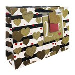 Gold Hearts Gift Bag - Greeting Card and Tissue Included