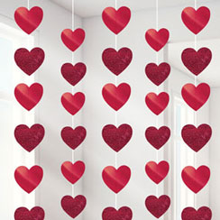 Valentines Red Heart Hanging Strings Decoration - 2.1m
