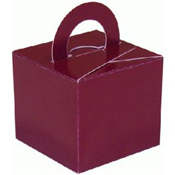 Burgundy Cube Balloon Weight/Favour Boxes - 6.5cm