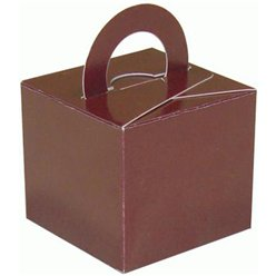 Brown Cube Balloon Weight / Favour Boxes - 6.5cm