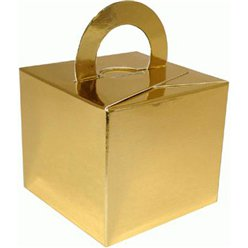 Gold Cube Balloon Weight/Favour Boxes - 6.5cm