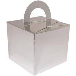 Silver Cube Balloon Weight/Favour Boxes - 6.5cm