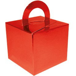 Metallic Red Cube Balloon Weight/Favour Boxes - 6.5cm