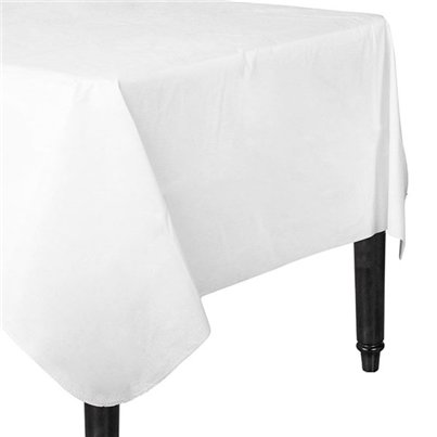 White Flannel-Backed Vinyl Tablecover - 1.3m x 2.2m