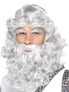 Zeus Wig, Beard & Eyebrows - Grey