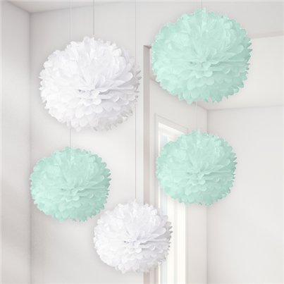 Baby Wishes White & Mint Pom Poms