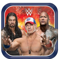 WWE Wrestling Square Plates - 23cm Paper Party Plates