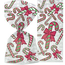 Candy Cane Christmas Cello Bags - 30cm