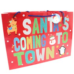"Extra Large ""Santa's Coming To Town"" Christmas Gift Bag - 45cm"