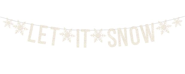 White Holographic Let It Snow Banner - 1.7m