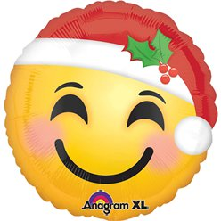 "Santa Hat Smiley Face Balloon - 18"" Foil"