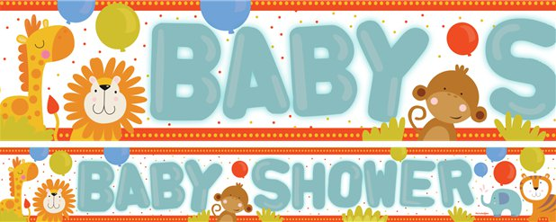 Baby Shower Paper Banners 1 design 1m each