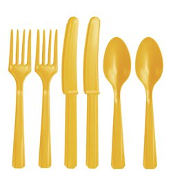 Yellow Reusable Cutlery - Assorted 24pk
