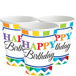 Birthday Bright Cups - 266ml Paper Party Cups