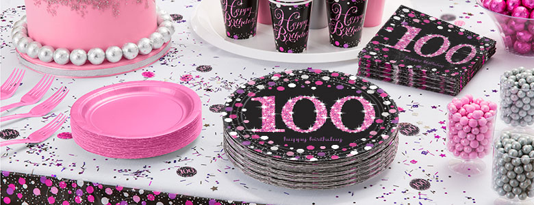 Pink Celebration 100th Birthday Party Supplies Delights