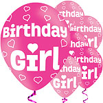 "Birthday Girl Balloons - 11"" Latex"