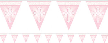 Radiant Cross Pink Flag Banner - 3.6m