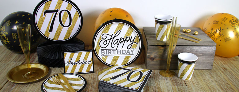 Black Amp Gold 70th Birthday Party Supplies Delights Direct