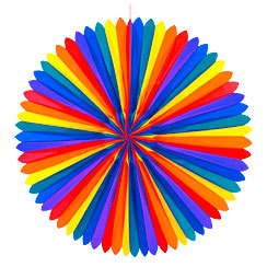 Giant Rainbow Paper Fan - 1.2m