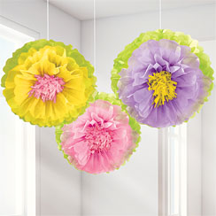 Spring Flower Pom Poms - 40cm Easter Decoration