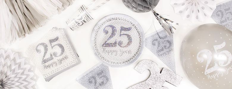 Silver 25th Wedding Anniversary: 25th Wedding Anniversary Party Supplies
