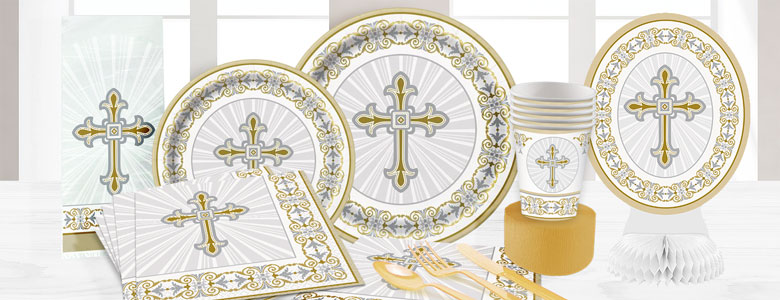 Silver & Gold Radiant Cross Party Supplies