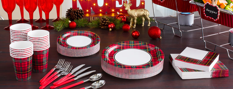 Tartan Christmas Party Supplies