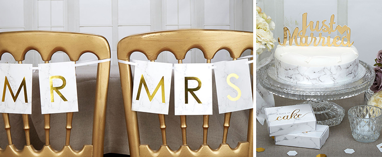 Scripted Marble Wedding Supplies